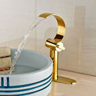 Luxury Brass Gold Polished Basin Faucet Dual Handles Waterfall Spout Mixer Tap