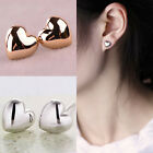 1 Pair Fashion Women Lady Heart Silver/Rose Gold Plated Charm Ear Stud Earrings