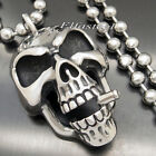 Mens Big Heavy Skull Cigar Stainless Steel Biker Pendant 8MM Bead Chain Necklace