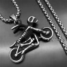 Skeleton Skull Rider Motorcycle Bike 316L Stainless Steel Charm Pendant Necklace
