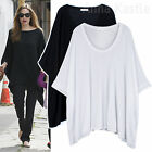 AnnaKastle New Womens Oversized Soft Drapey Cape Tee Wide Asymmetric Top M - L