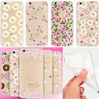 Ultra-thin Cartoon Floral Printed TPU Clear Case Cover For iPhone 8 7 6s Plus X