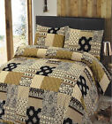 LUXURY PATCHWORK DUVET QUILT COVER BEDDING BED LINEN SET + PILLOWCASE EBONY NEW