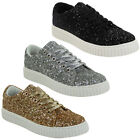 WOMENS FLAT PLATFORMS LACE UP PLIMSOLL LADIES CREEPERS PUMPS SHOES TRAINERS SIZE