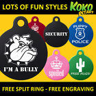 Funny Cute Graphic Dog Pet Puppy ID Tag Personalised Engrave
