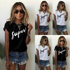 Women's Short Sleeve Letter Print T-Shirt Loose Casual Summer Tops Blouse Beauty