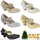 NEW GIRLS DIAMANTE KIDS PARTY WEDDING EVENING MARY JANE LOW HEELS SHOES SIZE
