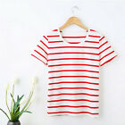 Comfortable Women Lady T-shirt Cotton Stripe Short Sleeve Tee-shirt Tops Clothes