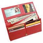 FancyStyle RFID Blocking Ladies Wallet Bifold Clutch Pebbled Genuine Leather Red