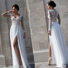 White Long Sleeve Beach Wedding Dresses Chiffon Split Formal Prom Evening Gowns