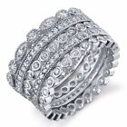 5 Sterling Silver Stackable CZ Eternity Bands Rings Wedding Anniversary Stack