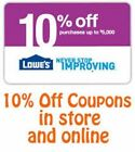 (2) Lowe's 10% Off Printable-Coupons - Expire 8 15 16 - Fast Email Delivery