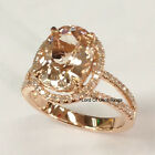 Pink Morganite Diamond Engagement Ring,14K Rose Gold 8x10mm Oval Cut Split Shank