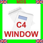 C4 Envelopes White Window Self Seal 90gsm A4 FREE P&P- NEXT DAY DELIVERY*
