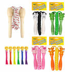 Traditional Childrens Skipping Rope, Wooden, Cute Animal or Neon Handle 200cm