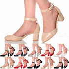 WOMENS LADIES BLOCK LOW MID HEEL ANKLE STRAP PROM EVENING SANDALS SHOES SIZE