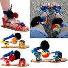 WOMENS LADIES STRAP FLAT LACE UP SHOES POM POM BEACH TRIBAL BOHO SANDALS SiZE
