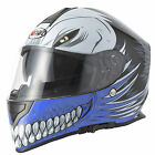 VCAN V127 FULL FACE MOTORCYCLE HELMET WITH SUN VISOR HOLLOW MONSTER DEMON BLUE