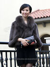 100% Real Genuine Rabbit Fur Huge Fox Collar Coat Cape Stole Outwear Jacket New