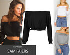 New Ladies Frill Bardot Crop Top Women Rufle Off Shoulder Gypsy Celeb Look Vest