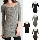 High Quality Seamless 3/4 Sleeve Leopard Mini Tunic Dress Stretch Span ONE SIZE