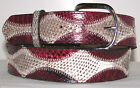 Genuine Sea Snake & Burgundy Python Snake Skin Belt sizes 24 to 48