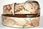 Genuine Matte Beige Python Snake Skin Belt sizes 24 to 48