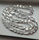 10.5 MM 925 STERLING SILVER MEN'S/WOMEN'S FIGARO LINK CHAIN NECKLACE 16-36""
