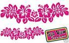 2 x Hibiscus Flower Strip Stickers Car Window Decals