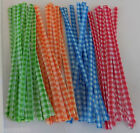 Gingham Coloured Twist Ties for Cello Party Gift Bag 10cm 4 colours or mixed lot