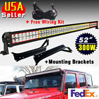 "Cool White 52"" 300W LED Light Bar+Mounting Brackets for Jeep TJ Wrangler+Wiring"