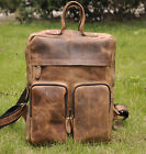"Men's Vntage Genuine Leather Travel Backpack Casual Handbag 15"" Laptop Bags New"