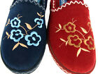 WOMENS LADIES FLORAL DESIGN FULL BACK HARD SOLE VELOUR SLIPPERS SIZE UK 3 NEW