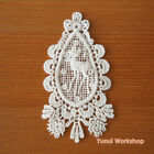 Fairytale Deer Embroidery Cotton Lace Applique White Deco Mori Girl Tear Drop