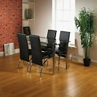 Black Border Glass Dining Table and 4 Chairs Dining Room Set, With Chrome Frame