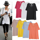 AnnaKastle New Womens Soft Cotton 7 Colors Oversized Loose Summer V-neck Top