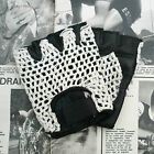 Vintage, Retro Style, Black Leather Cycle Gloves with White Crochet Cotton Back