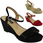 WOMENS LADIES ANKLE STRAP PLATFORM MID HEEL WEDGES PEEPTOE SHOES SANDALS SIZE