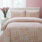 Pink Country Cottage Floral Check & Strip Patchwork Duvet Cover Set