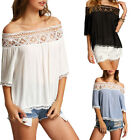 Beauty Sexy Ladies 3/4 Sleeve Collar Loose Casual Top Blouse Hollow Shirt