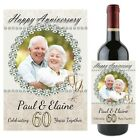 Personalised Diamond 60th Wedding Anniversary Wine Champagne Bottle Label N92