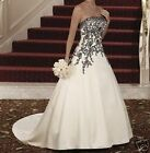 2018 New Wedding Dresses Strapless White and Black Bridal Gown Custom All Size