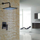 "Bathroom Tub 12""ORB LED Light Rainfall Shower Faucet  Wall Mounted  Mixer Tap"