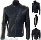 Mens Retro Black Biker Style White Stripe Vintage Look Real Leather Jacket