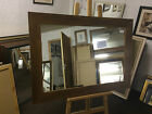 "MEDIUM OAK STAINED SOLID OAK OVERMANTLE WALL MIRROR 43"" x 31"" (109cm x 79cm) - E"
