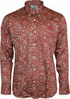 Relco Mens Platinum Red Paisley Long Sleeved Button Down Shirt Mod Skin 60s