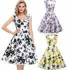 Women Sleeveless Vintage 50's 60's Swing Pinup Party Floral Print Tea Dress