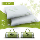 Hotel Comfort Bamboo Memory Foam Pillow & Removable Case King~Queen 1 or 2 pack