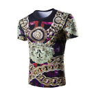 MEN'S Lion Chain 3D Printing Short Sleeve Casual T-Shirt