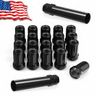 20 Black 6-Spline 12x1.5 Lug Nuts w Socket Key Cone Seat Open End Fits Toyota